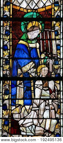 Stained Glass In Rouen Cathedral - St Laurence