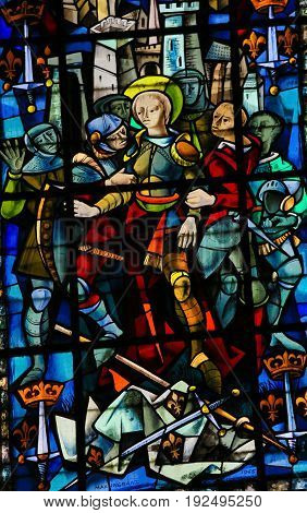 Stained Glass In Rouen Cathedral - Joan Of Arc