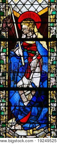 Stained Glass In Rouen Cathedral - Saint Genevieve