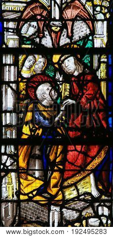 Stained Glass In Rouen Cathedral - Jesus And Saint Peter