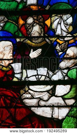 Stained Glass In Rouen Cathedral - Jesus At The Last Supper