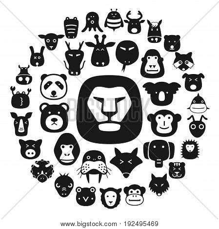 Animal Face Flat Character Flat Icon Design
