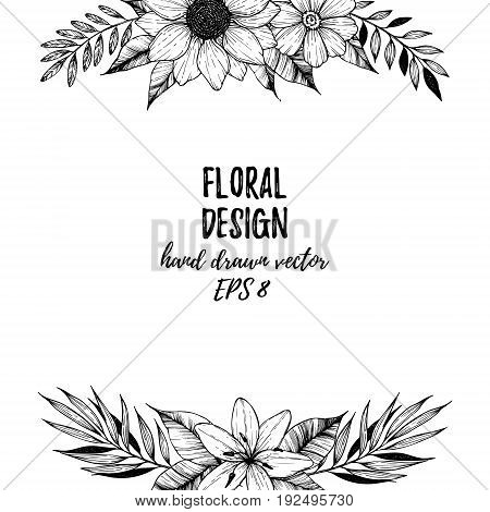 Hand Drawn Vector Illustration - Square Frame With Flowers And Leaves. Floral Bouquet. Perfect For I