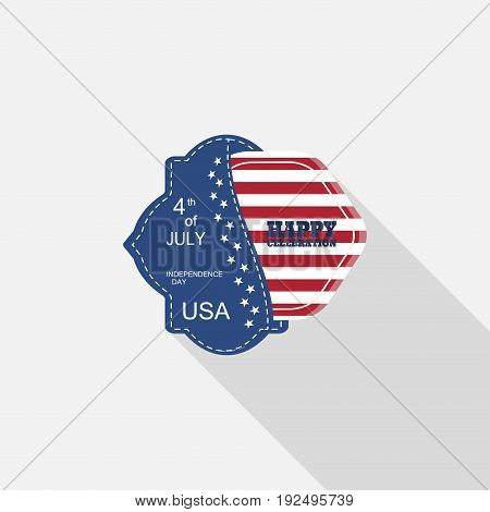 Vector flat label for Happy celebration of Independence Day with blue pocket hexagon insert with american flag and long shadow on the light gray background.