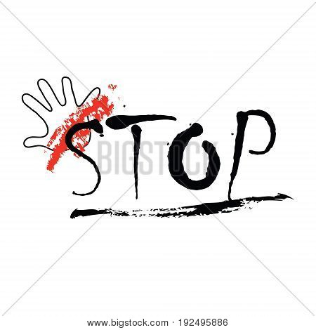 Vector illustration on colorless background with hand and concept of a word stop