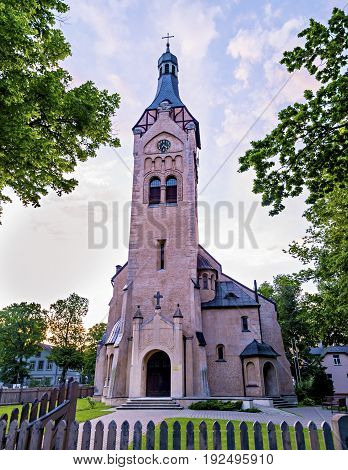 Lutheran church in Dubulti, Jurmala, Latvia. The church was built in 1909 with traits of asymmetry and national Latvian romanticism style. Architect W. Bokslaf
