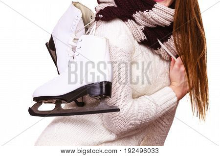Woman Holding Ice Skates