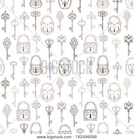 Hand sketched vector illustration - seamless pattern with vintage keys and locks. Design elements with decorative symbols. Medieval keys. Perfect for invitations greeting cards textiles prints posters etc