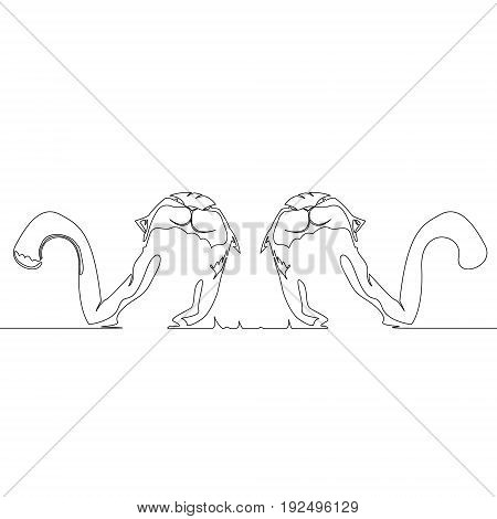 Continuous Line Drawing Of Two Kittens. Vector Illustration