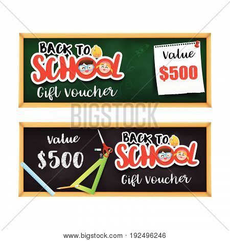 Back to school gift voucher template with stationary element on the black board vector illustration eps10