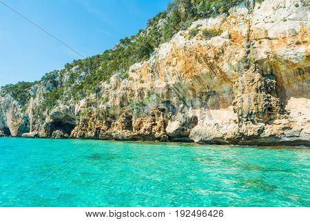 Bue Marino cave entrance in Orosei gulf. Sardinia Italy
