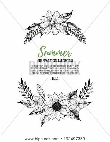 Hand Drawn Vector Illustration. Oval Wreath With Black Flowers, Leaves And Branches. Perfect For Wed