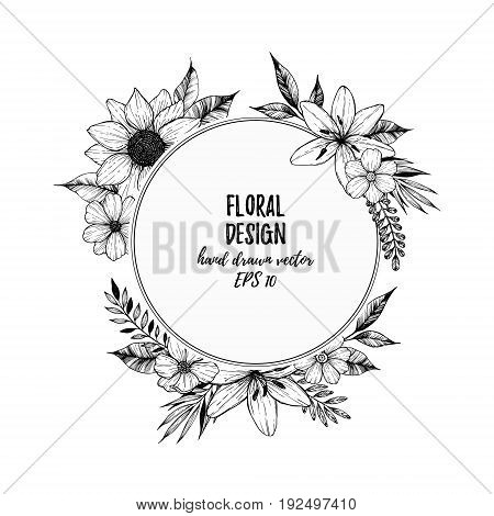 Hand Drawn Vector Illustration - Round Card With Black Flowers And Leaves. Hand Drawn Design Element