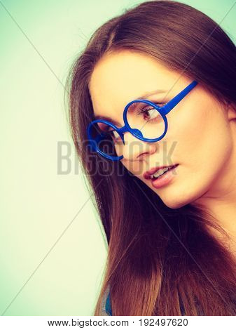 Attractive Nerdy Woman In Weird Glasses