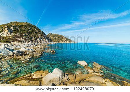 Bue sea in Punta Molentis shore Villasimius. Sardinia Italy