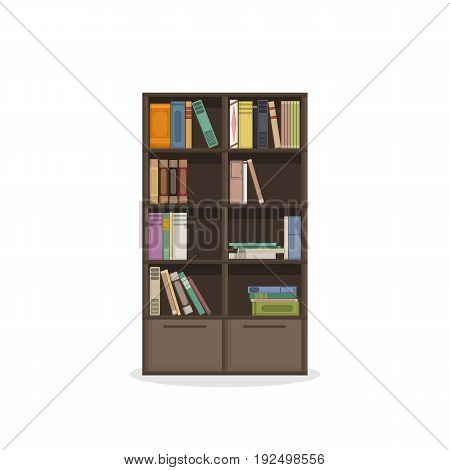 brown wooden bookcases, flat style vector eps 10