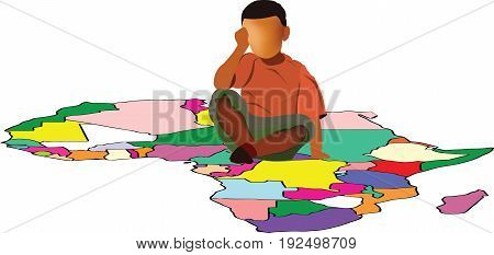 Color baby sitting on map of africa