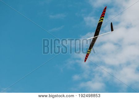 Rc Soaring Plane On Blue Sky
