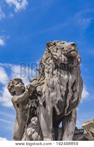 Sculpture Lion Conduit Par Un Enfant At Pont Alexandre Iii In Paris
