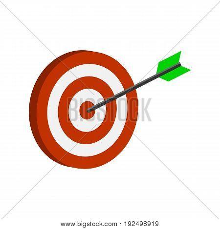 Arrow Hitting Target Symbol. Flat Isometric Icon Or Logo. 3D Style Pictogram For Web Design, Ui, Mob
