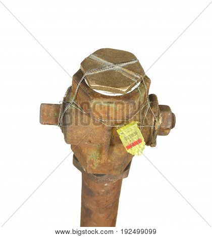 Water tap is muffled and sealed isolated on a white background.