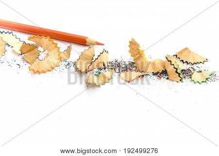 Wooden Colorful Pencils With Sharpening Shavings, On White Paper, Warm Tone