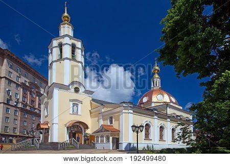 Moscow Russia - June 23 2017: Church of All Saints in Vsesvyatskoe on Sokol region in Moscow
