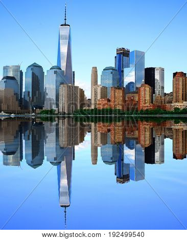 New York view of the Manhattan and the reflection in the Hudson river