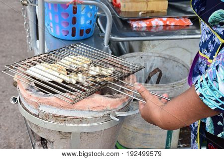 Grilled squid form food mobile at Chanthaburi Thailand.