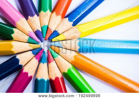 Colorful Pencils In Arrange In Color Wheel Colors