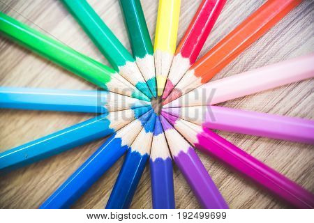 Colorful Pencils In Arrange In Color Wheel Colors On Wood Table