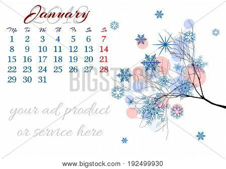 Calendar sheet for 2018 year with marked weekend days on white background. January. Abstract winter tree branch with snow and snowflakes. Week starts with Monday. Vector illustration