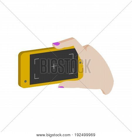 Taking Photo On Smartphone Symbol. Flat Isometric Icon Or Logo. 3D Style Pictogram For Web Design, U