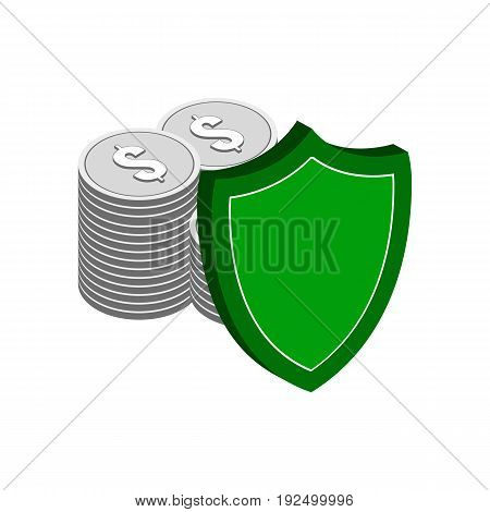 Stack Of Silver Coins With Shield, Finance Protection Symbol. Flat Isometric Icon Or Logo. 3D Style