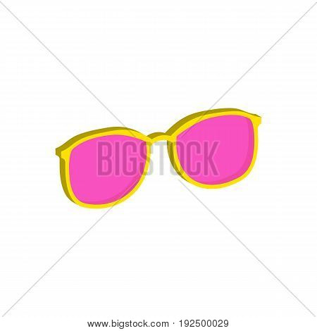 Pink Glasses, Eyeglasses Symbol. Flat Isometric Icon Or Logo. 3D Style Pictogram For Web Design, Ui,
