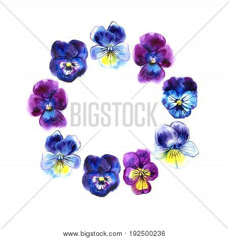Boarder with hand drawn pansy flowers. Purple, violet, yellow. Retro background with romantic flowers.