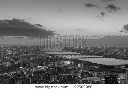 Black and White Aerial view Osaka city residence downtown and river skyline Japan