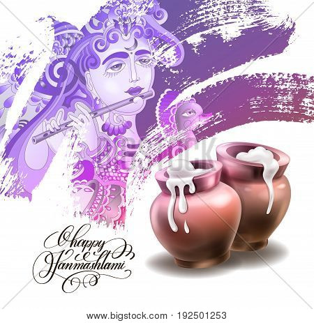 happy janmashtami festival artwork design to indian krishna birthday holiday, greeting card with god krishna who plays the flute and two clay pots with sour cream on brush stroke vector illustration