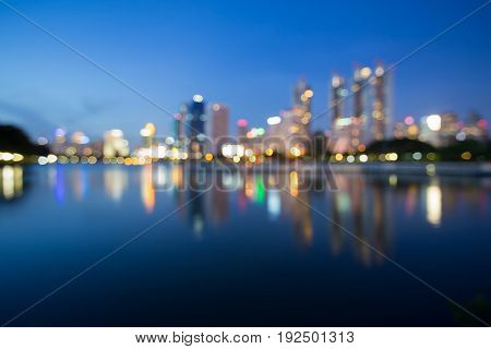 Night blurred bokeh refleciton office building abstract background