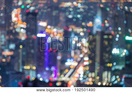 City business downtown blurred bokeh light abstract background