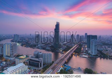 Aerial view Bangkok city river curved with after sunset sky background Thailand
