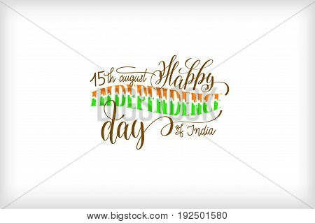 15th august happy independence day of india logo design, holiday label vector illustration