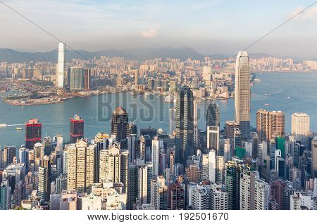 City of Hong Kong city central business downtown skyline cityscape background