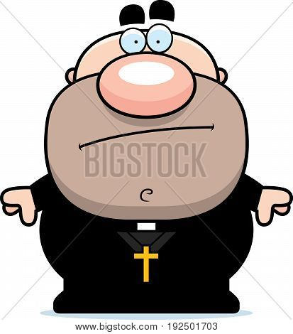 Cartoon Priest Bored