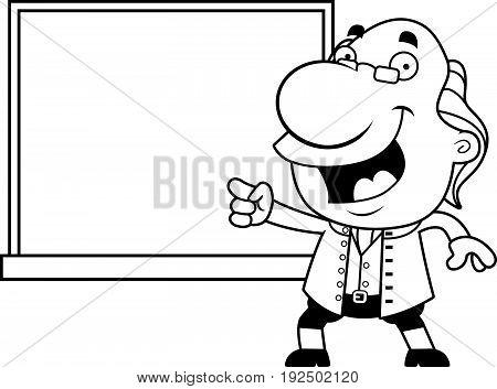 Cartoon Ben Franklin Chalkboard