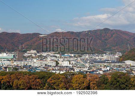 Osaka residence area in mountain around Japan cityscape downtown