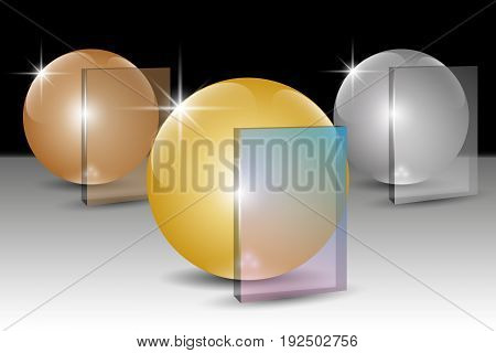 Golden silver and bronze 3D spheres and transparent banners for text. Vector illustration EPS10