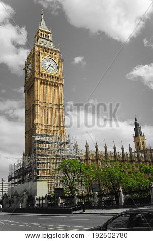 The tower Big Ben Is housed within