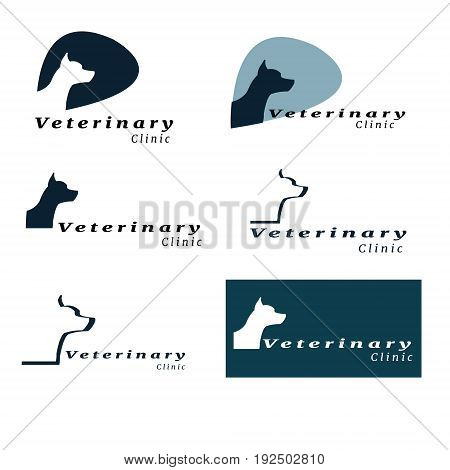 Set of logos for vet clinic with the silhouette of a dog