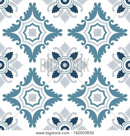Portuguese tiles seamless pattern. Vintage background - Victorian ceramic tile in vector